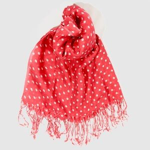 Classic Long Red Scarf with White Polka Dots